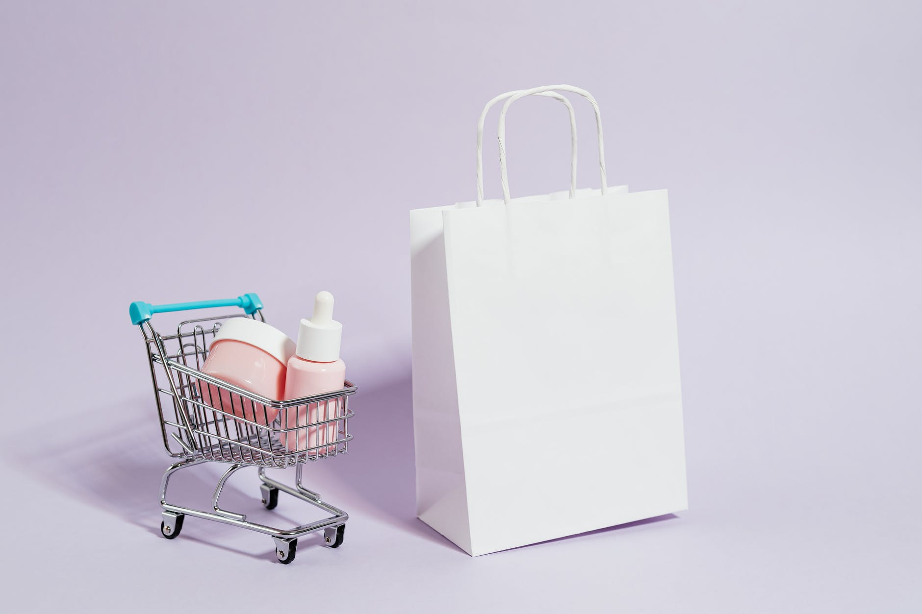 shopping cart next to a white paper bag